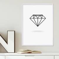 Design-Poster Diamant 30x40 cm schwarz-weiss Motiv Modern Grafik