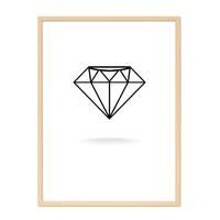 Design-Poster 'Diamant' 30x40 cm schwarz-weiss Grafik Abstrakt – Bild 6