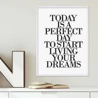 Design-Poster 'Today is a perfect Day' 30x40 cm Typographie Spruch – Bild 4
