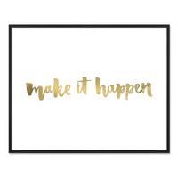 Design-Poster 'Make it Happen' 40x50 cm mit Golddruck Spruch – Bild 3