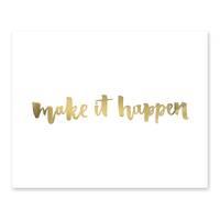 Design-Poster 'Make it Happen' 40x50 cm mit Golddruck Spruch – Bild 2