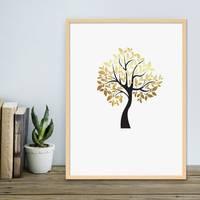 Design-Poster Der goldene Baum 30x40 cm in Schwarz-Gold Natur Baum