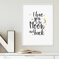 Design-Poster I love you to the Moon 30x40 cm Goldaufdruck Spruch
