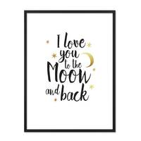 Design-Poster 'I love you to the Moon' 30x40 cm mit Goldaufdruck – Bild 3