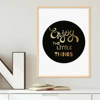 Design-Poster Enjoy the little Things 30x40 cm Goldaufdruck Spruch