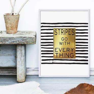 Design-Poster 'Stripes go with Everything' 30x40 cm Gold Spruch