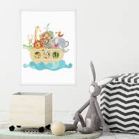 Poster Noahs Arche 30x40 cm Kinderposter Tiere Lernposter Bunt