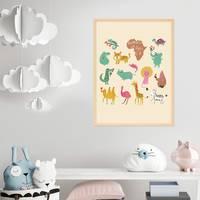 Poster Afrikas Tiere 30x40 cm Kinderposter Tiere Lernposter Bunt