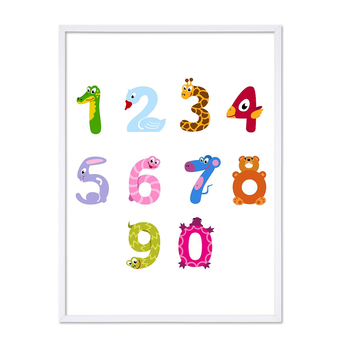 Poster Ziffern 20x20 cm Kinderposter Motiv Zahlen Lernposter Bunt