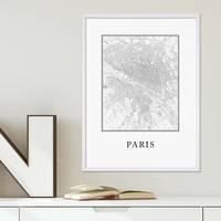 Poster Paris Karte 30x40 cm schwarz-weiss Natur Map Frankreich