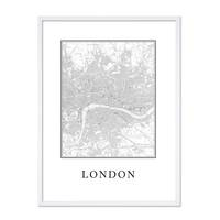 Poster 'London Karte' 30x40 cm schwarz-weiss Natur Map England – Bild 4
