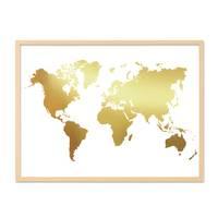 Poster 'Weltkarte Gold' 30x40 cm Goldaufdruck Map Erde Natur – Bild 6