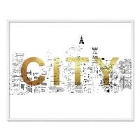 Design-Poster 'City Gold' 40x50 cm Goldaufdruck Typographie Stadt – Bild 4