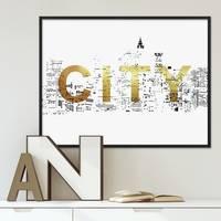 Design-Poster City Gold 40x50 cm Goldaufdruck Typographie Stadt