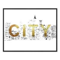 Design-Poster 'City Gold' 40x50 cm Goldaufdruck Typographie Stadt – Bild 3