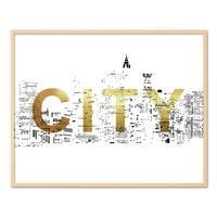 Design-Poster 'City Gold' 40x50 cm Goldaufdruck Typographie Stadt – Bild 6