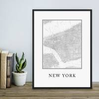 Poster 'New York Karte' 30x40 cm schwarz-weiss Stadtkarte Map – Bild 1