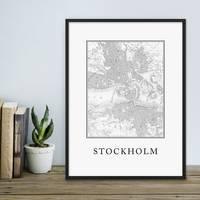 Poster Stockholm Karte 30x40 cm schwarz-weiss Landkarte Stadtkarte