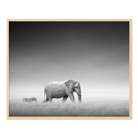 Poster 'Elefant' 40x50 cm schwarz-weiss Landschaft Zebra Afrika – Bild 5