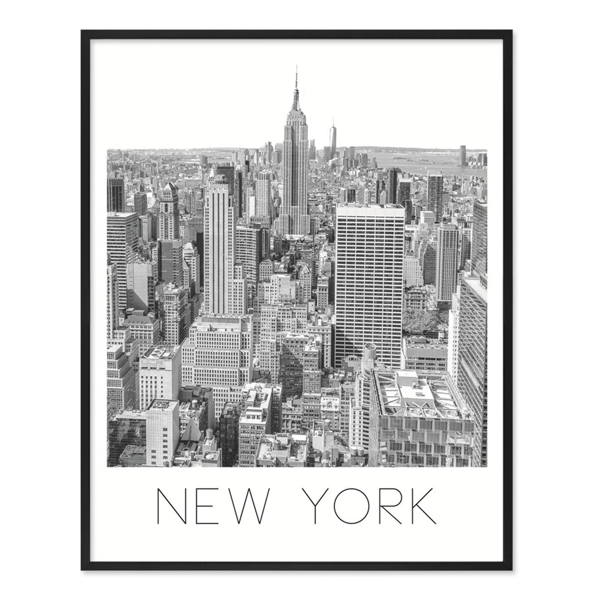 poster 39 new york 39 40x50 cm schwarz weiss motiv manhatten skyline poster st dte karten. Black Bedroom Furniture Sets. Home Design Ideas