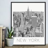 Poster New York 40x50 cm schwarz-weiss Motiv Manhatten Skyline