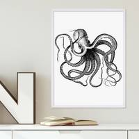 Poster 'Octopus' 30x40 cm schwarz-weiss Motiv Krake Zeichnung – Bild 4