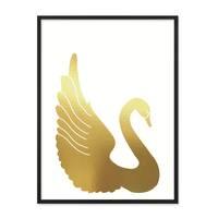 Design-Poster 'Goldener Schwan' 30x40 cm Goldaufdruck Motiv Natur – Bild 3