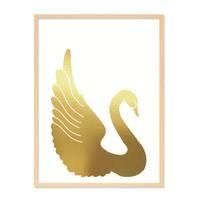 Design-Poster 'Goldener Schwan' 30x40 cm Goldaufdruck Motiv Natur – Bild 6