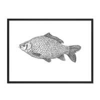 Design-Poster 'Karpfen' 30x40 cm schwarz-weiss Fisch Zeichnung Koi – Bild 3