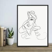 Design-Poster Girl 30x40 cm schwarz-weiss Motiv Mädchen Zeichnung