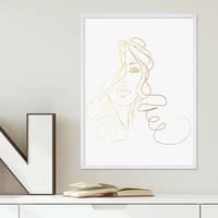 Design-Poster Girl Gold 30x40 cm Goldaufdruck Mädchen Zeichnung