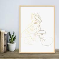 Design-Poster 'Girl Gold' 30x40 cm Goldaufdruck Mädchen Zeichnung – Bild 5