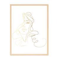 Design-Poster 'Girl Gold' 30x40 cm Goldaufdruck Mädchen Zeichnung – Bild 6