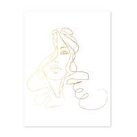 Design-Poster 'Girl Gold' 30x40 cm Goldaufdruck Mädchen Zeichnung – Bild 2