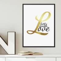 Design-Poster Love Gold 30x40 cm Typographie Goldaufdruck Liebe