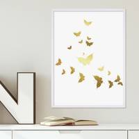 Design-Poster Butterflies Gold 30x40 cm Motiv Schmetterlinge
