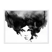 Design-Poster 'Frauenkopf' 30x40 cm schwarz-weiss Frau Aquarell – Bild 4