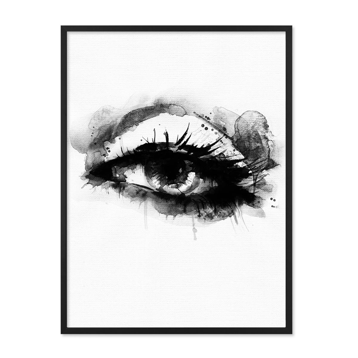 Design Poster Auge 30x40 Cm Schwarz Weiss Aquarell Frauenauge