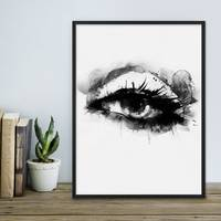 Design-Poster Auge 30x40 cm schwarz-weiss Aquarell Frauenauge