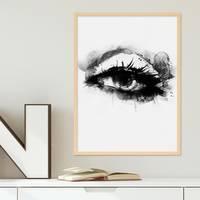 Design-Poster 'Auge' 30x40 cm schwarz-weiss Aquarell Frauenauge – Bild 5