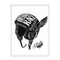 Design-Poster 'Helm' 30x40 cm schwarz-weiss Motiv Spruch Vintage – Bild 4