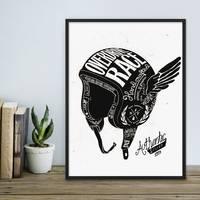 Design-Poster Helm 30x40 cm schwarz-weiss Spruch Vintage Zeichnung