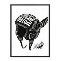 Design-Poster 'Helm' 30x40 cm schwarz-weiss Motiv Spruch Vintage – Bild 3