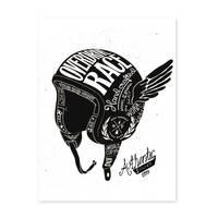 Design-Poster 'Helm' 30x40 cm schwarz-weiss Motiv Spruch Vintage – Bild 2