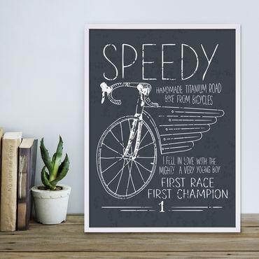 Poster 'Speedy' 30x40 cm schwarz-weiss Spruch Typographie Fahrrad