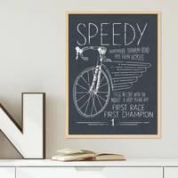 Poster 'Speedy' 30x40 cm schwarz-weiss Spruch Typographie Fahrrad – Bild 6
