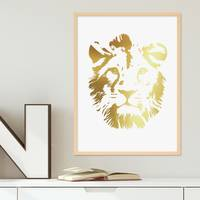 Design-Poster 'Lion Gold' 30x40 cm Löwenkopf Löwe Goldaufdruck – Bild 5