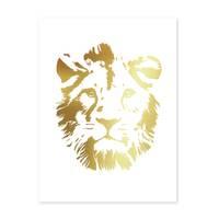 Design-Poster 'Lion Gold' 30x40 cm Löwenkopf Löwe Goldaufdruck – Bild 2