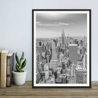 Poster New York City 30x40 cm schwarz-weiss Landkarte Skyline