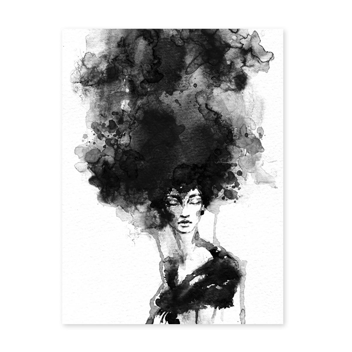 designposter 'woman' 30x40 cm schwarzweiss motiv frau